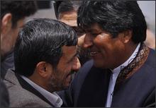 Mahmoud Ahmadinejad and Bolivian President Evo Morales